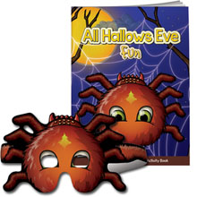 All Hallows Eve Fun Coloring & Activity Book w/ Spider Mask