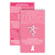 Pink Ribbon Lady Pin on Affirmation Word Cloud Card, Stock
