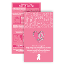 Pink Ribbon Heart Lapel Pin on Affirmation Word Cloud Card, Stock