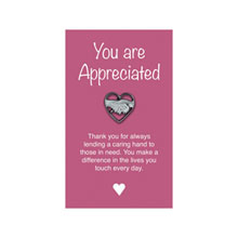 "Hands in Heart Lapel Pin on ""You are Appreciated"" Card, Stock"