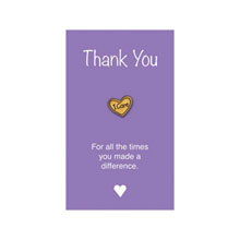 "I Care Lapel Pin on ""Thank You"" Appreciation Card, Stock"