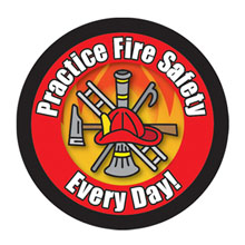 Practice Fire Safety Every Day Scramble Sticker Roll, Stock