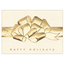 Happy Holidays Raised Foil Bow Holiday Greeting Card