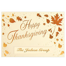 Happy Thanksgiving Scattered Leaves Holiday Greeting Card