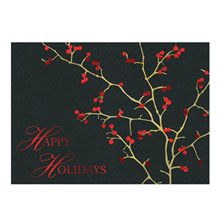 Happy Holidays Red Berries Holiday Greeting Card