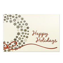 Happy Holidays Gold Snowflakes Wreath Holiday Greeting Card