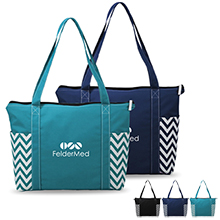 Chevron Zippered Polycanvas Tote - Free Set Up Charges!