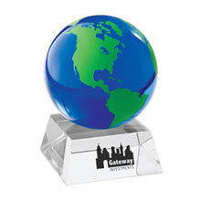 Blue & Green Crystal Globe w/ Crystal Stand