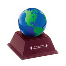 Blue & Green Glass Globe w/ Wood Stand