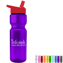 Transparent Sports Bottle, 28oz. - Flip Straw Lid - Free Set Up Charges!