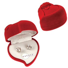 Cubic Zirconia Earrings in Heart Gift Box