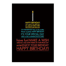 Happy Birthday Word Cake Greeting Card