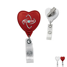 Antimicrobial Jumbo Heart Retractable Badgeholder, Alligator Clip