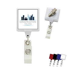 Antimicrobial Jumbo Square Retractable Badgeholder, Alligator Clip