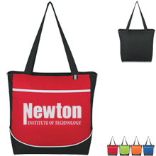 Color Accented 600D Polyester Curve Tote - Free Set Up Charges!