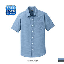 District Made® Washed Woven Chambray Men's Short Sleeve Shirt