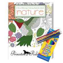 Adult Coloring Book, Nature Design Theme with Colored Pencils