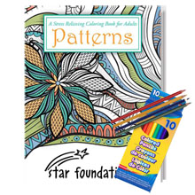 Adult Coloring Book, Patterns Theme with Colored Pencils