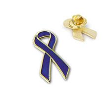 Royal Blue Ribbon Lapel Pin