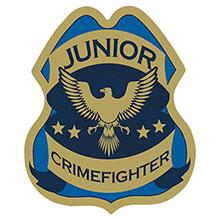 Junior Crimefighter Foil Sticker Badge, Stock