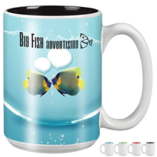 Mighty Two-Tone White Ceramic Mug, 15oz. w/ Full Color Imprint- Free Set Up Charges!