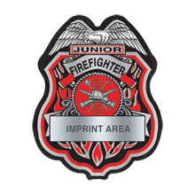 Junior Firefighter Silver and Black Plastic Badge