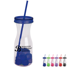 Carafe Acrylic Tumbler & Straw with Ice Cubes, 30oz.