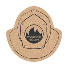 "Fire Helmet Cork Coaster, 5"""
