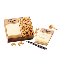 Beech Wood Post-It® Note Holder with Extra Fancy Jumbo Cashews