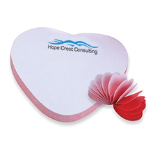 Heart Shaped BIC® Adhesive Die Cut Spring Notepad, 25 Sheets