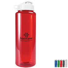 Guzzler Transparent Sport Bottle, 32oz. - Flip Top Lid - Free Set Up Charges!