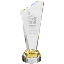 Canary Accent Crystal Award, 11""