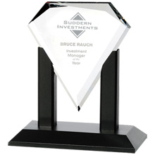 Premiere Starfire Glass Award with Black Wood Base, 7""