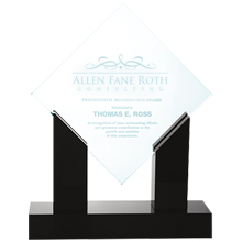 Diamond Jade Glass Award with Black Marble Base, 10-1/2""