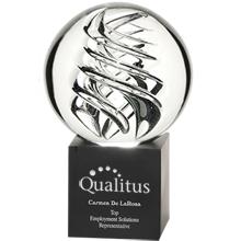 "Frosted Swirl Art Glass Award with Aluminum Base, Medium, 8"""