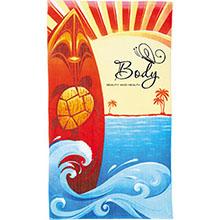 Surf Board Scene Medium Weight Beach Towel, 14 lbs.