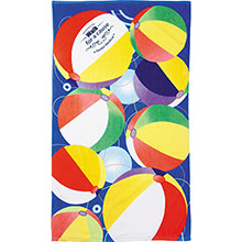 Beach Ball Scene Medium Weight Beach Towel, 14 lbs.