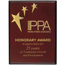"Three Star Piano-Finish Award Plaque, 9"" x 12"""