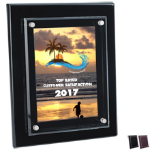 "Floating Glass Award Plaque, Full Color, 8"" x 10"""