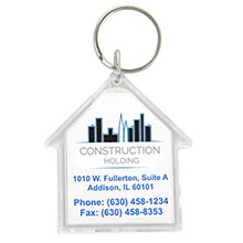 House Acrylic Key Tag w/ Full Color Imprint