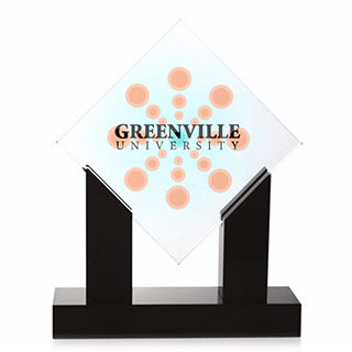 Diamond Jade Glass Award with Black Base, Full Color Imprint, 10-1/2""