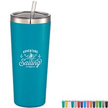Thor Copper Vacuum Insulated Tumbler w/ Straw, 22oz. - Free Set Up Charges!