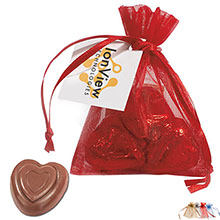 Belgian Chocolate Hearts in Organza Gift Pouch, 3 Pcs