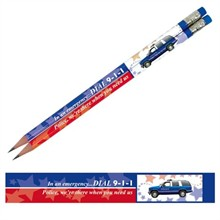 In an Emergency Dial 9-1-1, Police Car, Stock Pencil - Closeout, On Sale!