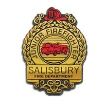 Junior Firefighter Badge, Clip Backing, Custom