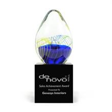 """Grande Egg Art Glass Award with Base, 9"""""""