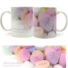 Conversation Heart Design, Full Color Stoneware Mug, 11oz.