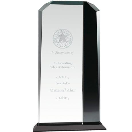 "Duet Echo Ebonite & Starfire Glass Award, 12-1/2"""
