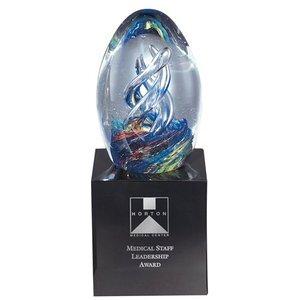 "Hydra Egg Art Glass Award with Base, 7-1/2"""