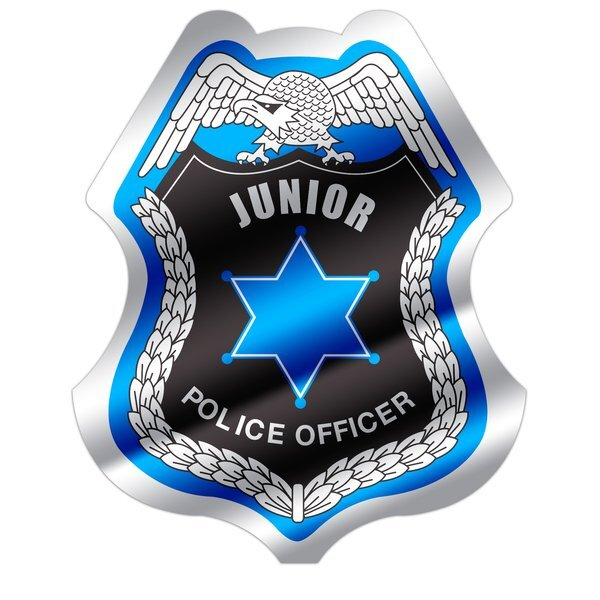 Junior Police Officer Foil Sticker Badge, Stock
